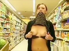 Girl flashes in supermarket