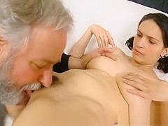 Youthful chick licked and gives a blowjob to an old man