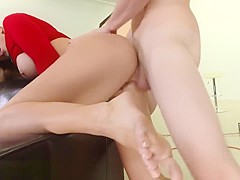 Alexis Monroe's sexy toes get sticky with cum