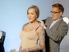 Tattooed Woman Gives Head And Gets Railed By Nerdy Dude
