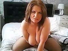 Randy Brunette Milf With Natural Boobs Riding On Hard Pecker