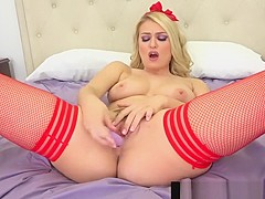 Hot Natalia Starr Dildo Bangs In Red Hot Fishnet Stockings!