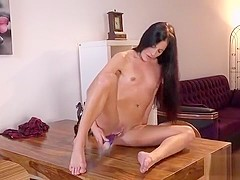 Luscious Girl Is Peeing And Masturbating Bald Slit