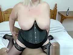BBW granny with extreme boobs handling fat black rod