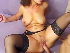Cougar In Stockings Enjoys Big Dick