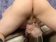 Brunette Dirtbag Gagging And Spitting Up All Over Herself