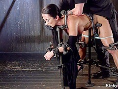 Busty slave in bondage made squirting