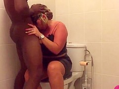 interracial hard anal in toilet