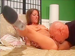 Naughty Wife Has A Horny Old Man Licking And Fingering Her Hairy Twat