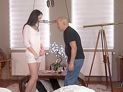 OLD4K. Young chick was in mood for sex with middle-aged inamorato