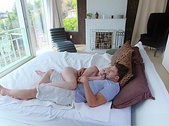 Dirty double dicking for a tiny blonde cheater