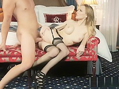 Stinky rich guy injects his spunk into a hot Eurobabe