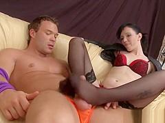 Bdsm Female Dom Jerks Guys Cock With Feet