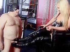 Mistress makes slave jerk off on boots