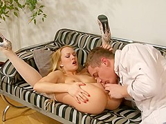 Cumming inside his little blonde girlfriend