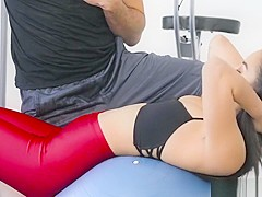 Sexy Maya Bijou is showing her instructor how to train on shaved pussy