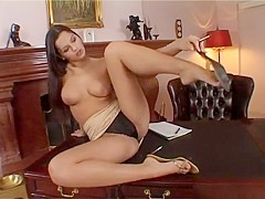 Eve Angel gets bored at the office so she masturbates and pisses