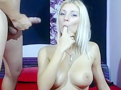 Blonde swedish slut has a cumshot facial on webcam
