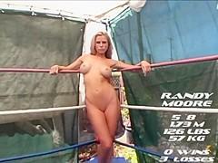 Female wrestling loser worships winners feet
