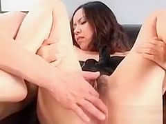 Japanese hairy snatch licked and fingered in close-up