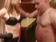 Savage ballbusting by mistress