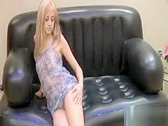 Blonde teen on the couch