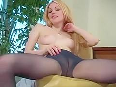 Cute blonde actress JL posing in pantyhose 02