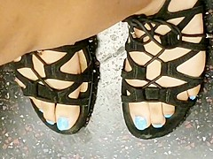 Candid Light blue toes