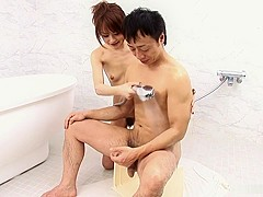 Miina Yoshihara is sucking her client's cock in the bath tub