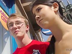 HUNT4K. Nerdy cuckold watches girlfriend fucked by muscular stranger