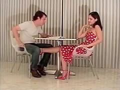 Classic velvet kick sexy girl ballbusting with heels