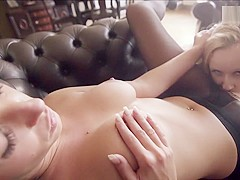 Big tit lesbians taste each other after cat fight