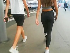 Candid Ass in leggings
