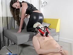 strapon leather leggings cum eating