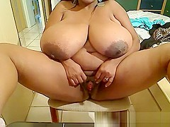 Ebony mistress with unbelievable huge black boobs
