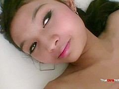 Skinny little Thai babe gets fucked and sucks cock