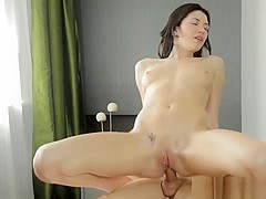 Pretty Erika makes the masseur explode in jizz all over her mouth