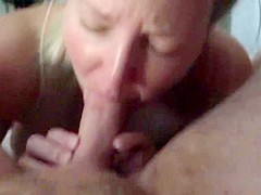 Lactating wife gags on cock