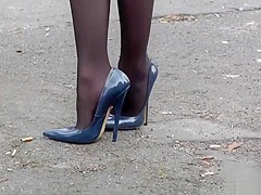 6inch high heels casual business elegance black stocking legs in public