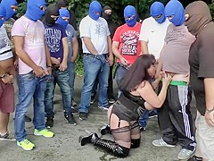 Girl with BIG boobs in PUBLIC sex orgy gangbang PART 2