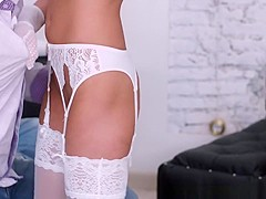 With Nothing But Her Sexy White Stockings And Garterbelt On
