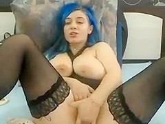 BBW blue fucks herself to squirt webcam no sound