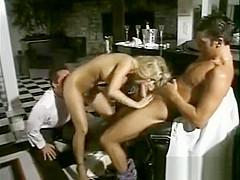 Beautiful Blonde Getting Two Dicks In Her