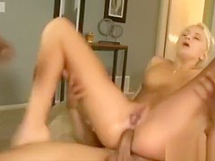 Naughty Blonde Bitch Double Fucked By Big Black Shafts