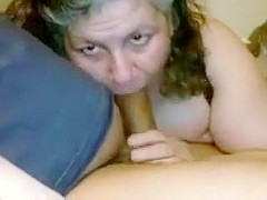 Mature blows her guy's hard stick of meat in this ugly amat