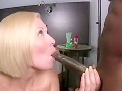 Blonde slut interracial blowjob and facial bukkake in hd