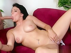 Smoking hot brunette slides a cock in her delicious sweet mouth