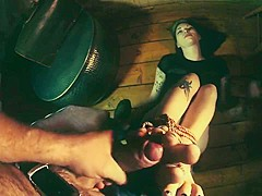 Bondage Dirty Soles Footjob from Goth Girl