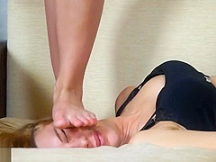 Full Weight Lesbian Head and Face Trampling with Bare Feet