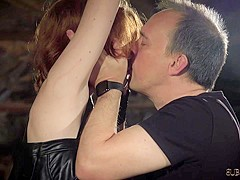 Masochistic redhead enjoys the harsh treatment from her Master